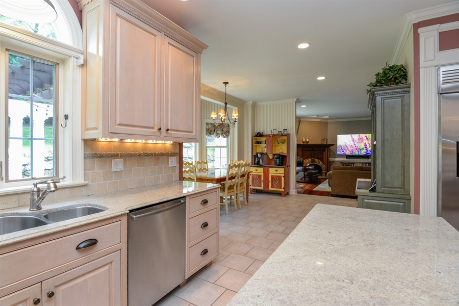 Real Estate Photography - 52 Hog Hill Road, Chappaqua, NY, 10514 - Kitchen w/Adjoining Family Room