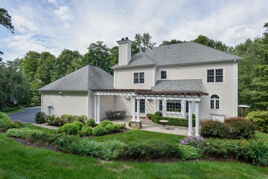 Real Estate Photography - 52 Hog Hill Road, Chappaqua, NY, 10514 - Rear View w/Pergola Covered Patio