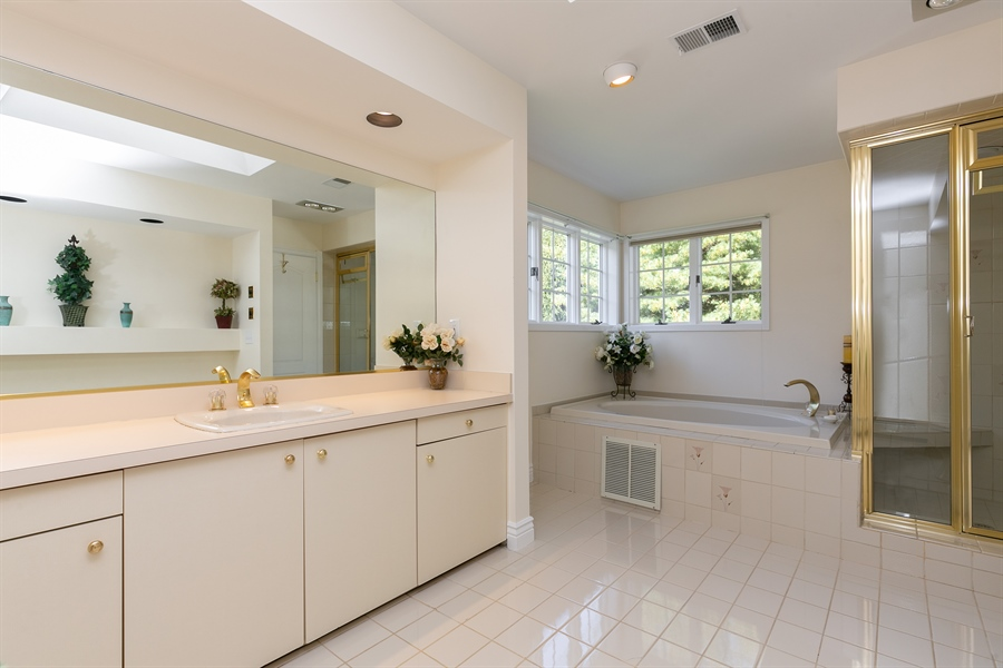Real Estate Photography - 5 Elizabeth Ct, Briarcliff Manor, NY, 10510 - Master Bathroom with Separate Whirlpool Tub and Sh