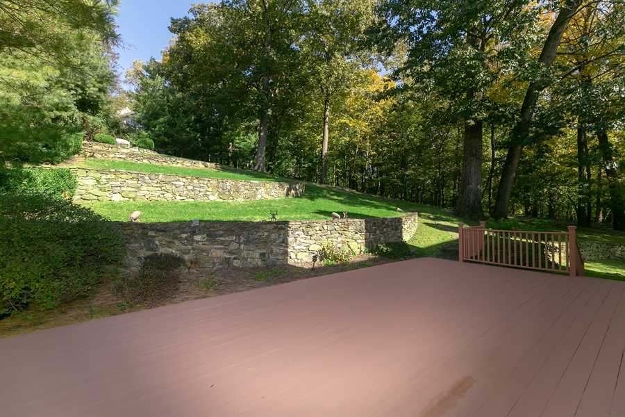 Real Estate Photography - 5 Elizabeth Ct, Briarcliff Manor, NY, 10510 - Expansive Deck and Tiered Back Yard