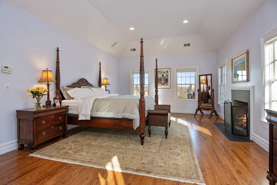 Real Estate Photography - 202 Hirst Rd, Briarcliff Manor, NY, 10510 - Master Bedroom w/FPL, tray ceiling & hardwood flrs