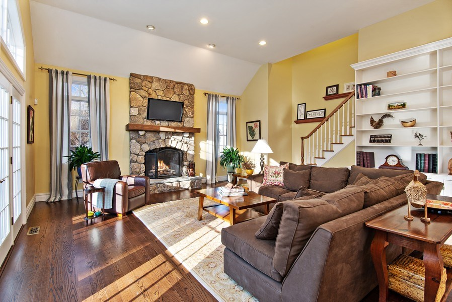 Real Estate Photography - 202 Hirst Rd, Briarcliff Manor, NY, 10510 - Family Room w/doors to Patio & back staircase