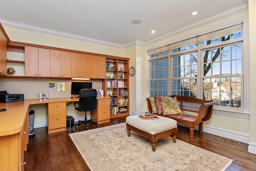 Real Estate Photography - 202 Hirst Rd, Briarcliff Manor, NY, 10510 - Large private Office w/built-ins on main floor
