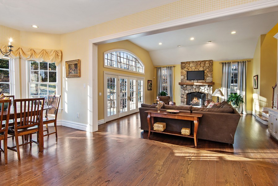 Real Estate Photography - 202 Hirst Rd, Briarcliff Manor, NY, 10510 - Warm & wonderful Family Room w/stone FPL