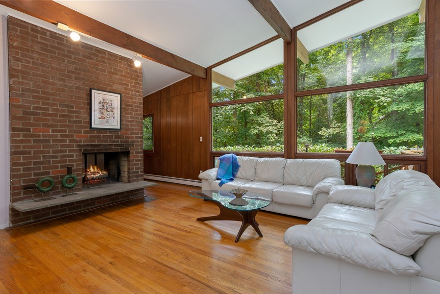 Real Estate Photography - 3 Morningside Ct, Ossining, NY, 10562 - Living Room w/vaulted beamed ceiling & Brick FPL