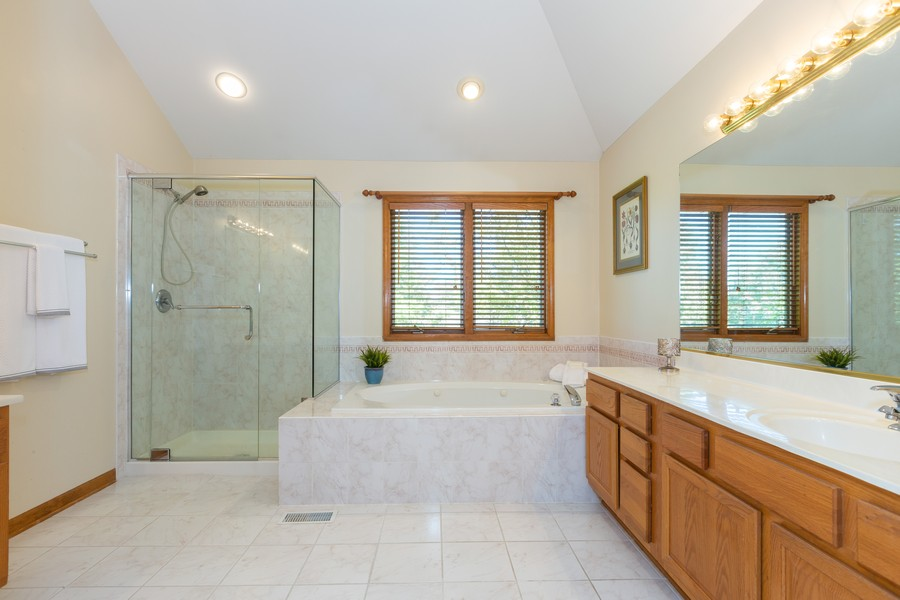 Real Estate Photography - 2743 Fairhauser Rd, Naperville, IL, 60564 - Master Bathroom w/New Shower