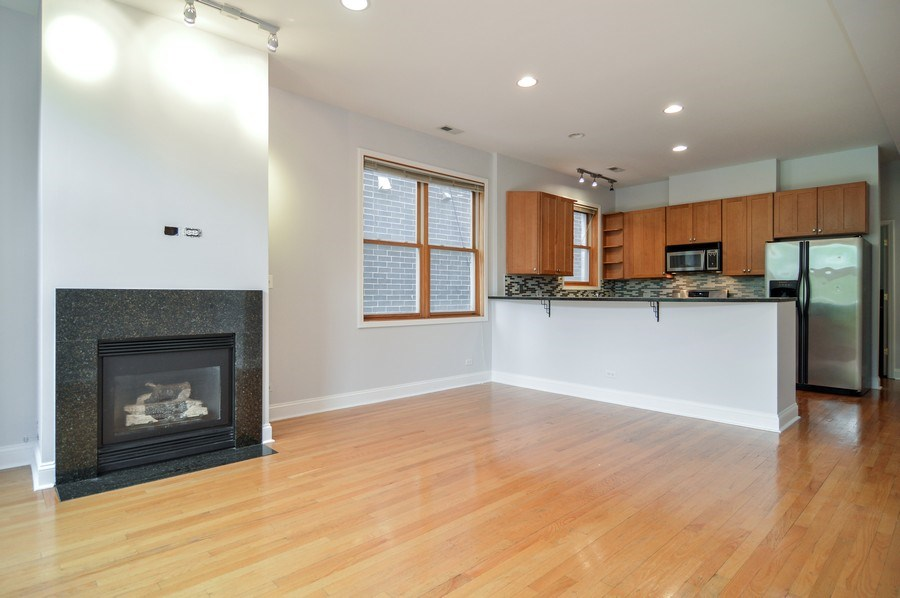 Real Estate Photography - 1942 N Francisco, Unit 2S, Chicago, IL, 60647 - Kitchen / Living Room