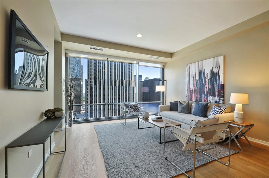 Real Estate Photography - 240 E Illinois St, Unit 2107, Chicago, IL, 60611 - Living Room