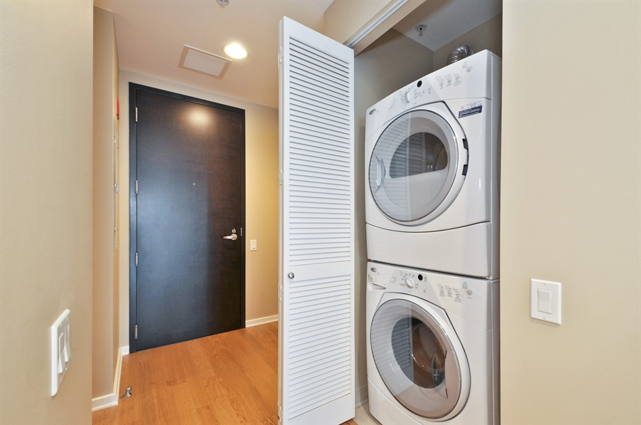 Real Estate Photography - 240 E Illinois St, Unit 2107, Chicago, IL, 60611 - Laundry Room