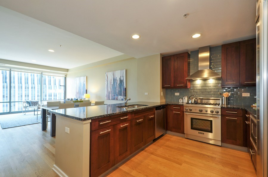 Real Estate Photography - 240 E Illinois St, Unit 2107, Chicago, IL, 60611 - Kitchen / Living Room