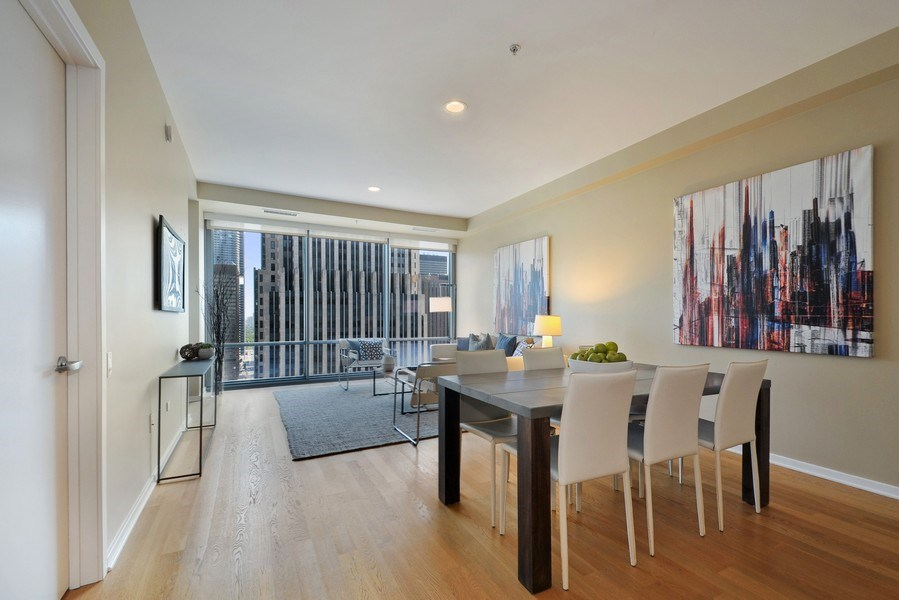 Real Estate Photography - 240 E Illinois St, Unit 2107, Chicago, IL, 60611 - Living Room / Dining Room