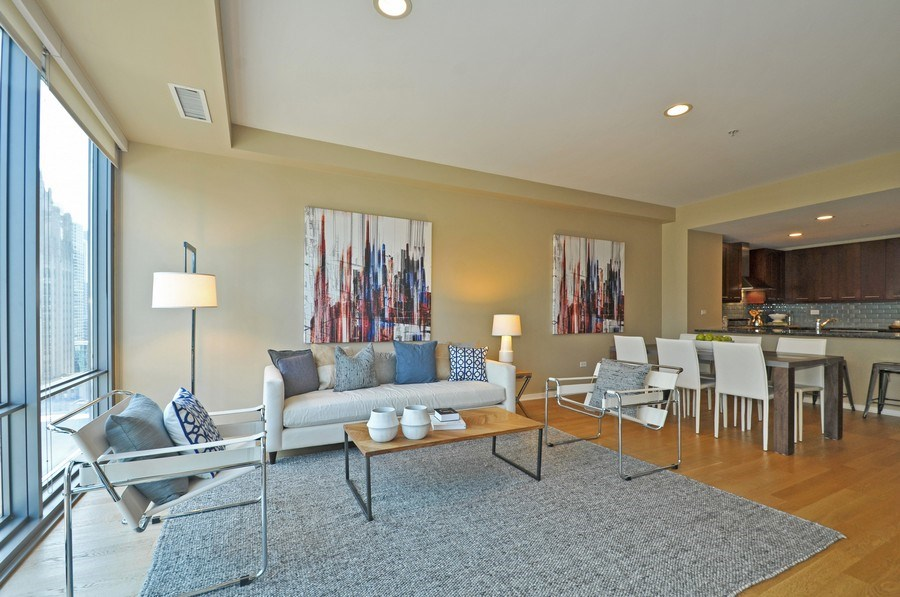 Real Estate Photography - 240 E Illinois St, Unit 2107, Chicago, IL, 60611 - Living Room/Dining Room