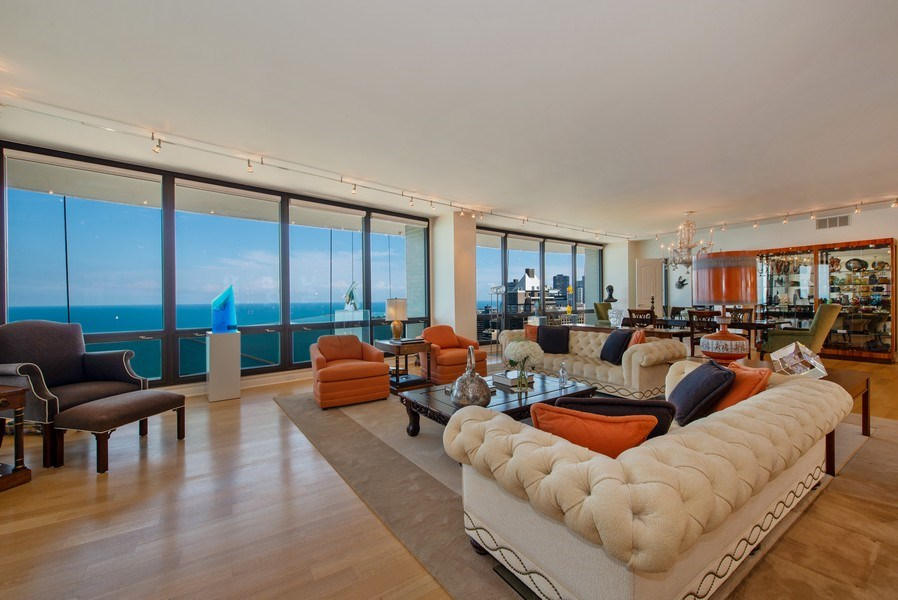 Real Estate Photography - 1040 N. Lake Shore Drive, 36BC, Chicago, IL, 60611 - Living/Sitting Room
