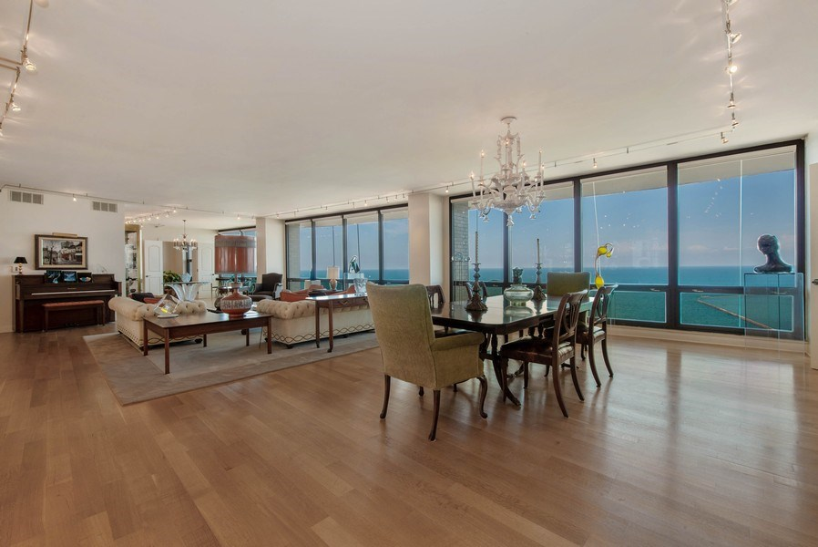 Real Estate Photography - 1040 N. Lake Shore Drive, 36BC, Chicago, IL, 60611 - Living Room/Dining Room