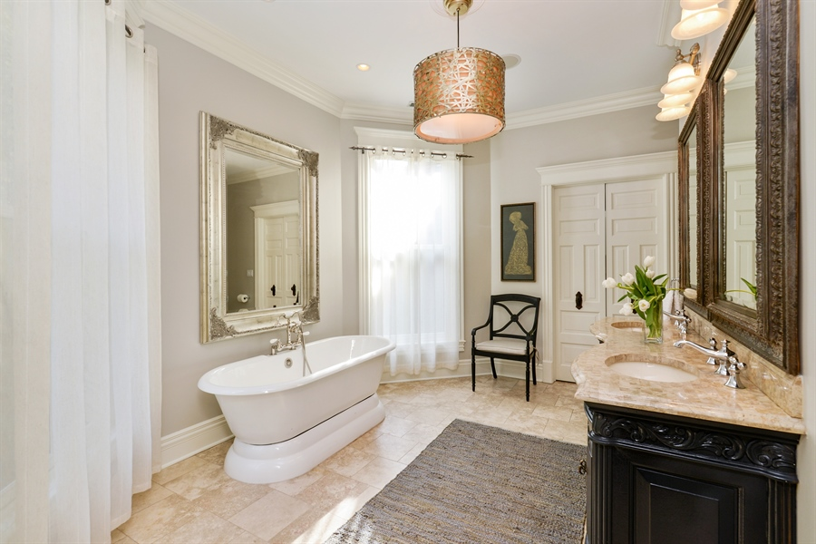 Real Estate Photography - 3440 N Janssen Ave, Chicago, IL, 60657 - Masterbath w/ double shower, radiant floors