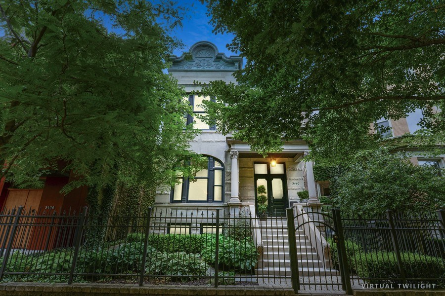 Real Estate Photography - 3440 N Janssen Ave, Chicago, IL, 60657 - Classic greystone single family home on 37.5' wide