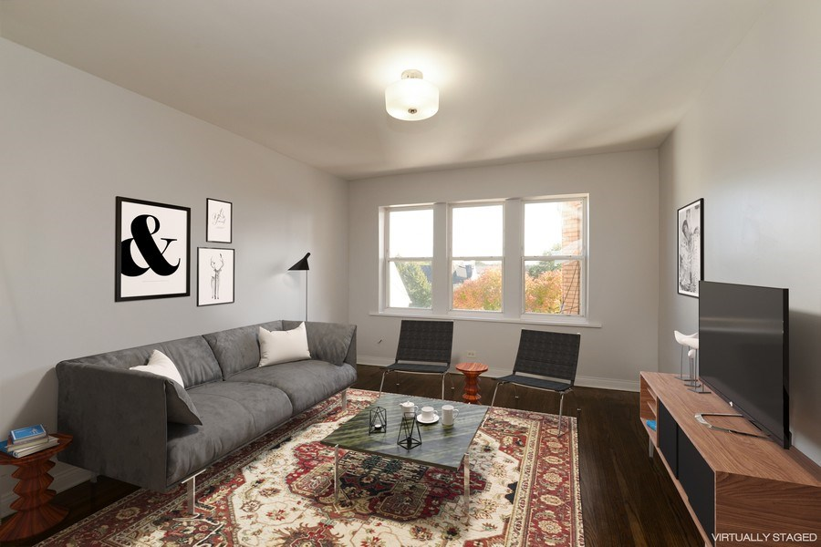 Real Estate Photography - 3555 W Lyndale, 3C, Chicago, IL, 60647 - Living Room - Virtually Staged