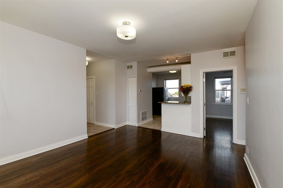 Real Estate Photography - 3555 W Lyndale, 3C, Chicago, IL, 60647 - Kitchen / Living Room