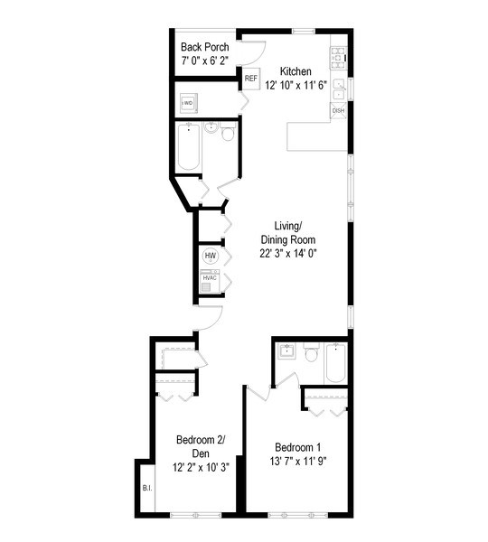 Real Estate Photography - 3045 W Sunnyside, 2W, Chicago, IL, 60625 - Floor Plan