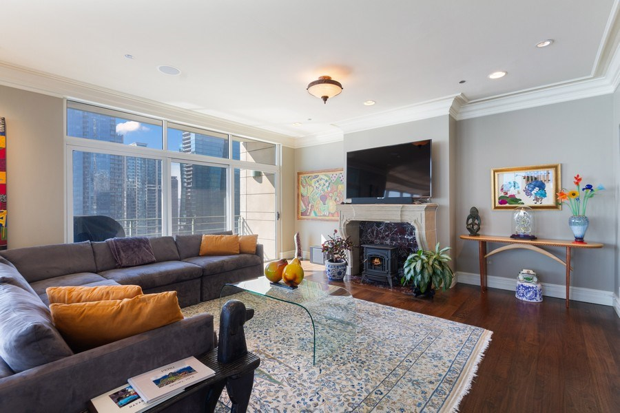 Real Estate Photography - 445 E North Water, Unit 2605, Chicago, IL, 60611 - Living Room