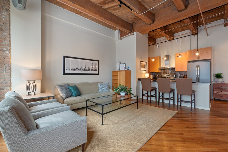 Real Estate Photography - 1040 W Adams St., Unit 209, Chicago, IL, 60607 - Kitchen / Living Room