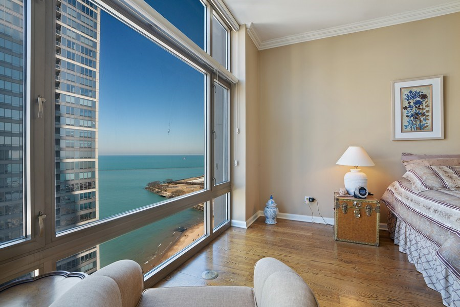 Real Estate Photography - 530 N Lake Shore Dr, Unit 2902, Chicago, IL, 60611 - Master Bedroom