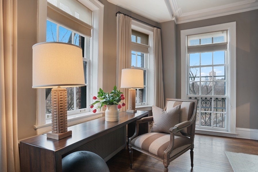 Real Estate Photography - 2600 North Lakeview Avenue, #4E, Chicago, IL, 60614 - FRENCH WINDOW FACES SOUTH W/ CITY VIEWS