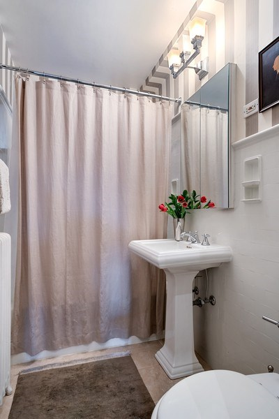 Real Estate Photography - 2600 North Lakeview Avenue, #4E, Chicago, IL, 60614 - TUB/SHOWER, STONE FLOOR IN BATH