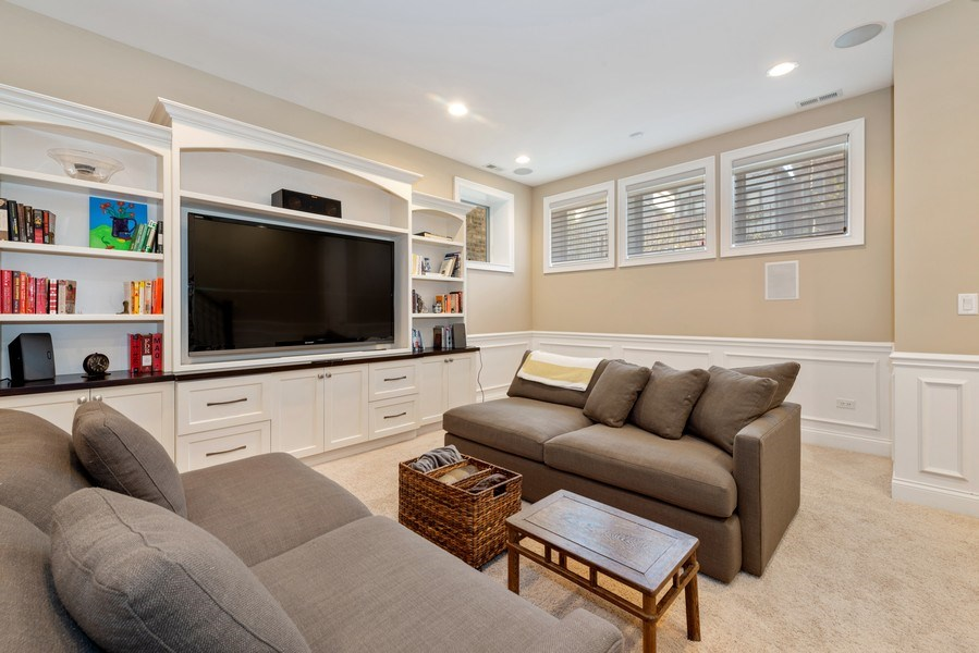 Real Estate Photography - 1312 W Barry, Chicago, IL, 60657 - Lower Level Rec Room