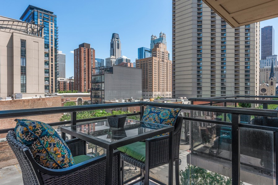 Real Estate Photography - 101 W Superior, Unit 502, Chicago, IL, 60610 - Balcony