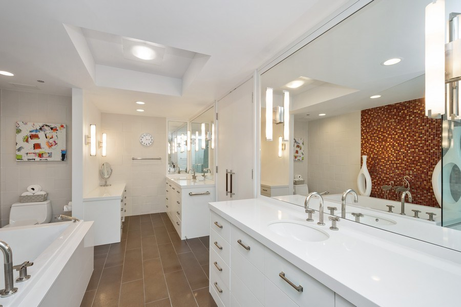 Real Estate Photography - 415 E North Water St, Unit 1605, Chicago, IL, 60611 - Master Bathroom