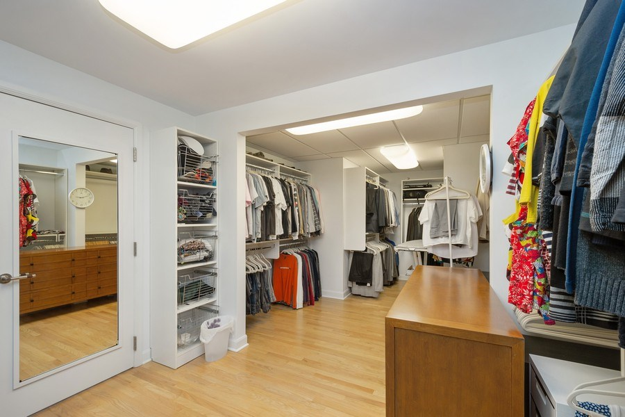 Real Estate Photography - 415 E North Water St, Unit 1605, Chicago, IL, 60611 - Master Bedroom Closet