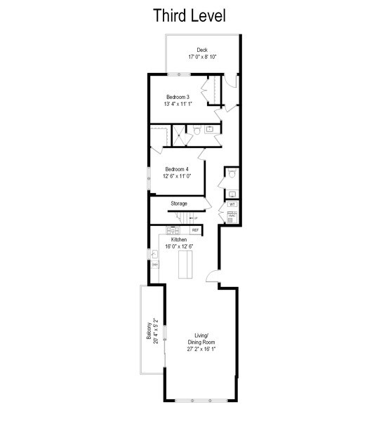 Real Estate Photography - 2144 W Rice St, #3W, Chicago, IL, 60622 - Floor Plan
