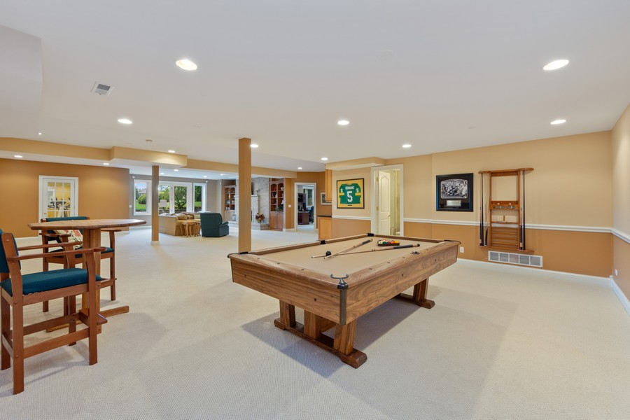 Real Estate Photography - 14 Riderwood, North Barrington, IL, 60010 - Lower Level Family Room/Billards Room