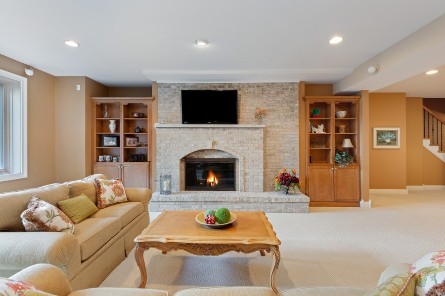 Real Estate Photography - 14 Riderwood, North Barrington, IL, 60010 - Lower Level Media/Family Room