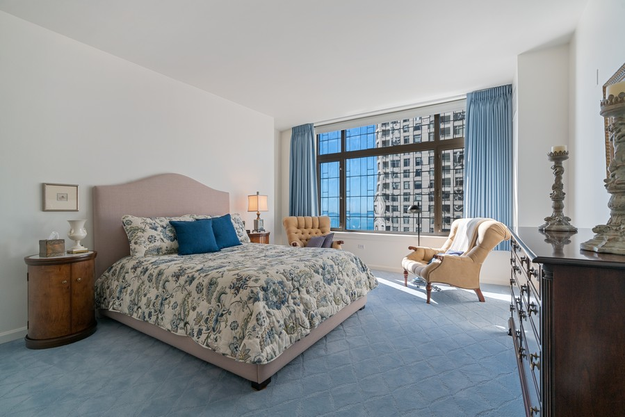 Real Estate Photography - 530 N Lake Shore Dr, 1707, Chicago, IL, 60611 - Master Bedroom