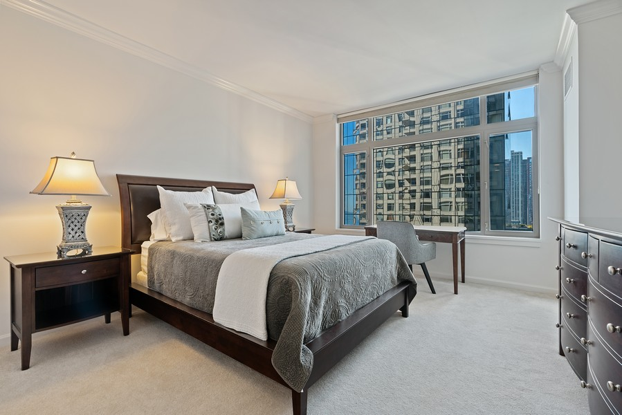 Real Estate Photography - 530 N Lake Shore Dr, 1708, Chicago, IL, 60611 - Master Bedroom