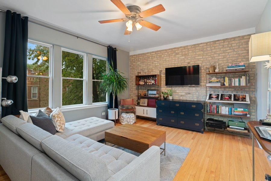Real Estate Photography - 2227 N Kimball, #2E, Chicago, IL, 60647 - Living Room