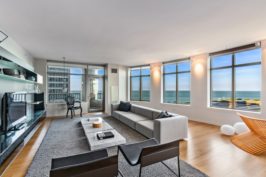 Real Estate Photography - 530 N Lake Shore Dr, unit 2305, Chicago, IL, 60611 - Living Room