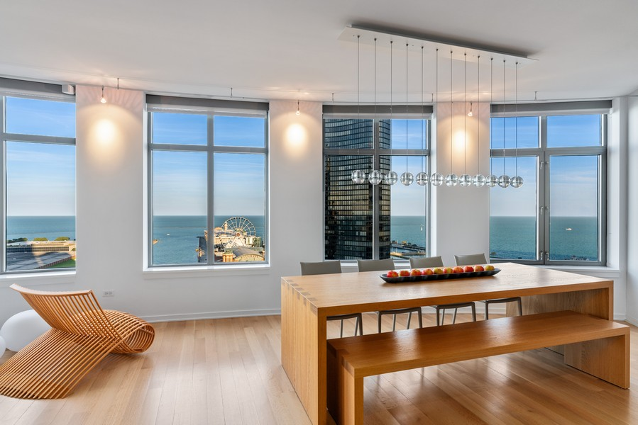 Real Estate Photography - 530 N Lake Shore Dr, unit 2305, Chicago, IL, 60611 - Dining Room