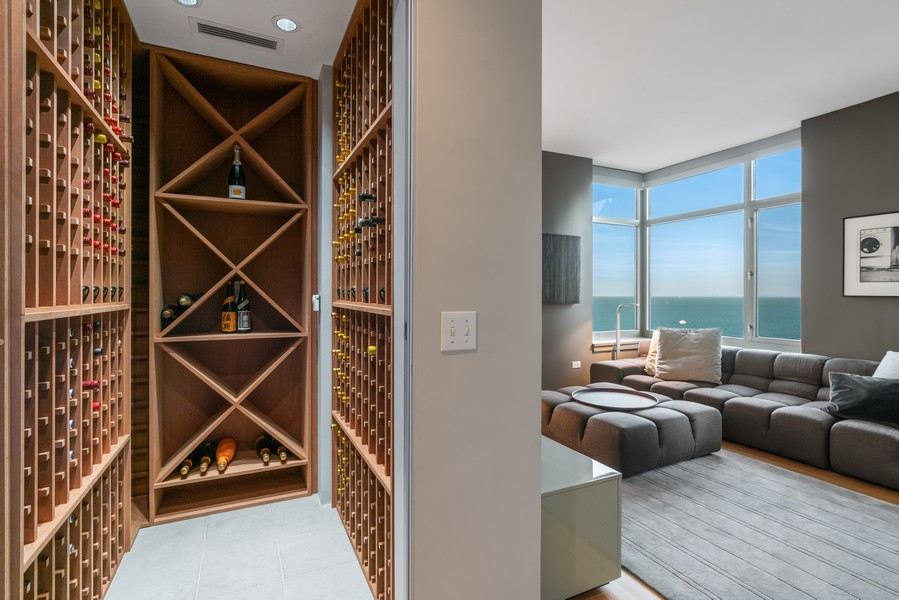 Real Estate Photography - 530 N Lake Shore Dr, unit 2305, Chicago, IL, 60611 - Wine Cellar