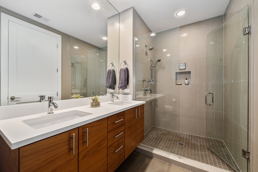 Real Estate Photography - 2495 N Milwaukee Ave., Unit 2S, Chicago, IL, 60647 - Master Bathroom