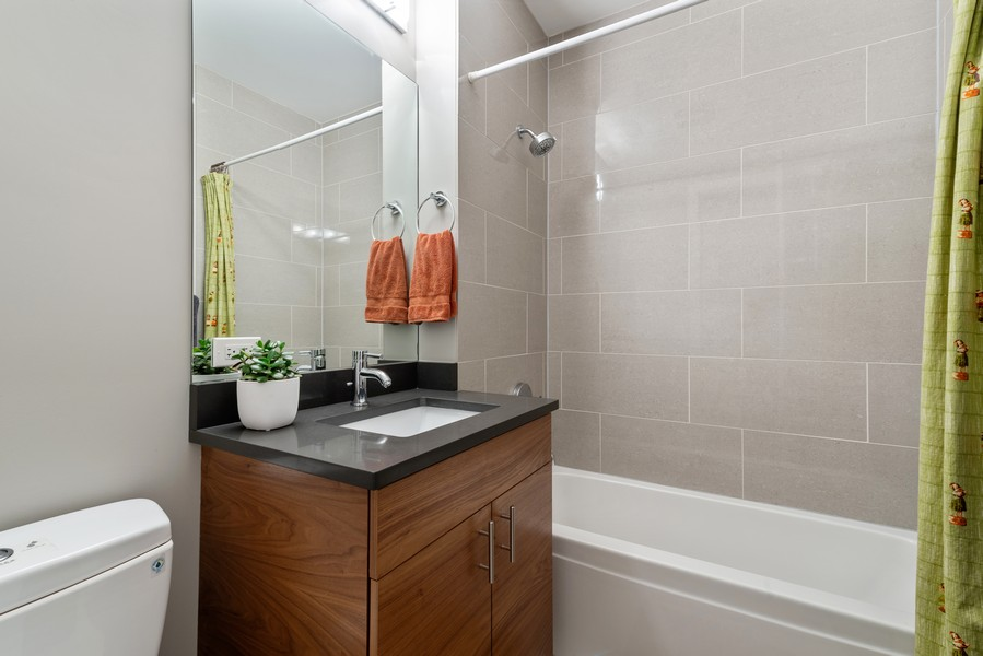 Real Estate Photography - 2495 N Milwaukee Ave., Unit 2S, Chicago, IL, 60647 - 2nd Bathroom