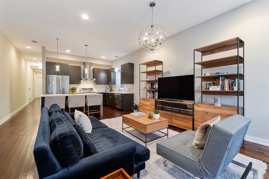 Real Estate Photography - 2495 N Milwaukee Ave., Unit 2S, Chicago, IL, 60647 - Kitchen / Living Room