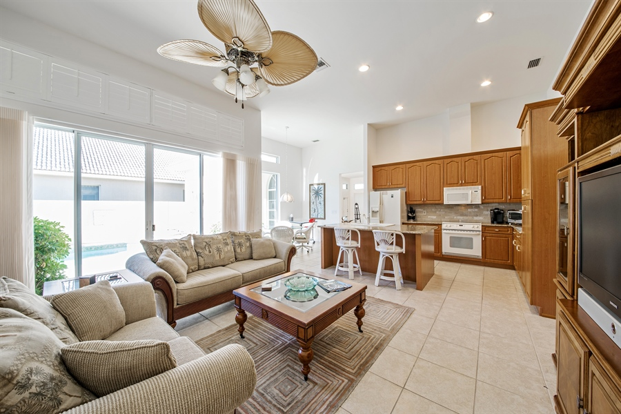 Real Estate Photography - 28526 Highgate Drive, Bonita Springs, FL, 34135 - Family Room / Kitchen
