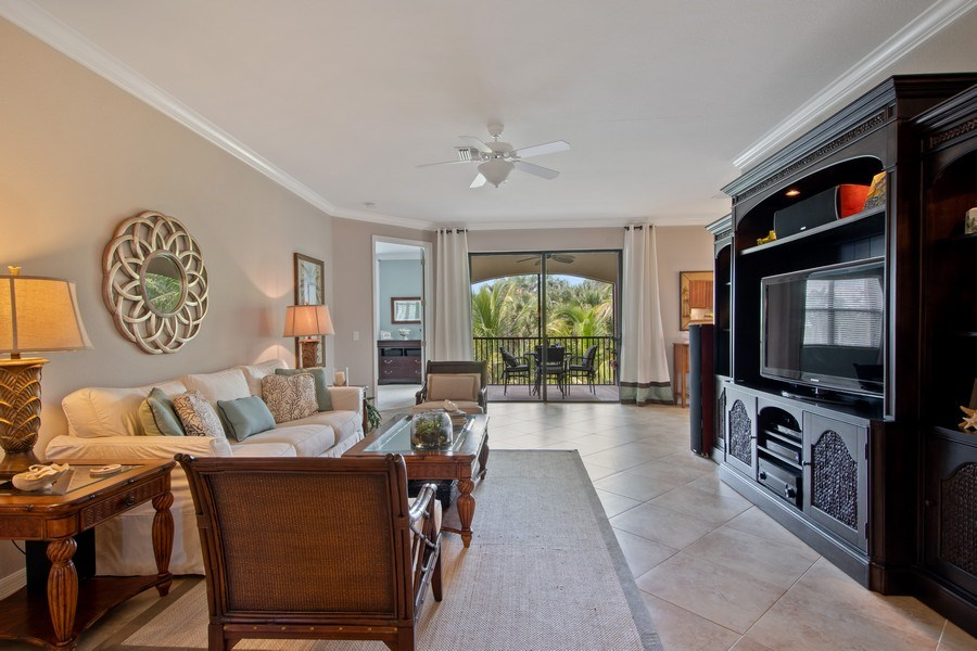 Real Estate Photography - 9127 Nappoli Court, Unit 202, Naples, FL, 34113 - Living Room