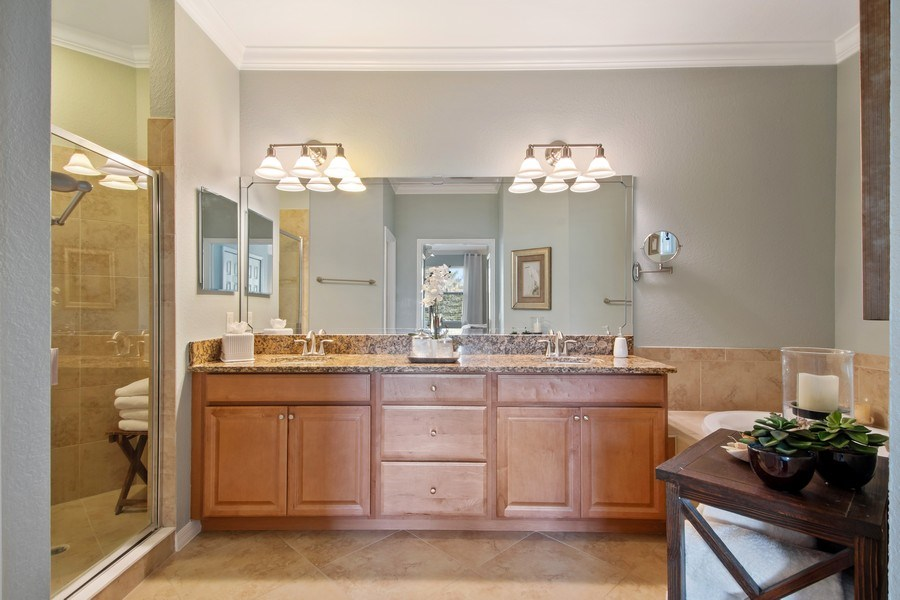 Real Estate Photography - 9127 Nappoli Court, Unit 202, Naples, FL, 34113 - Master Bathroom