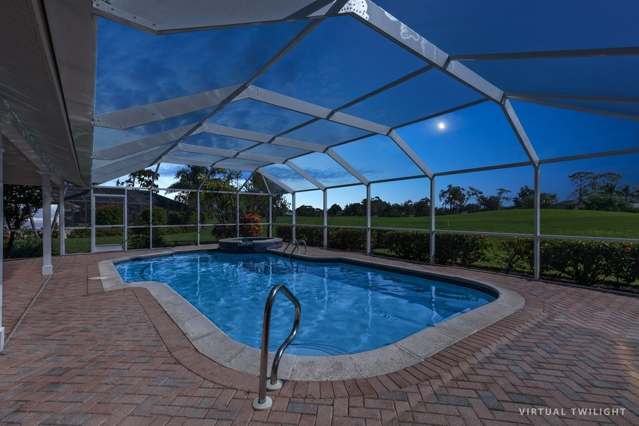 Real Estate Photography - 1918 Imperial Golf Course Blvd., Naples, FL, 34110 - Pool / Spa  (Virtual Twilight)