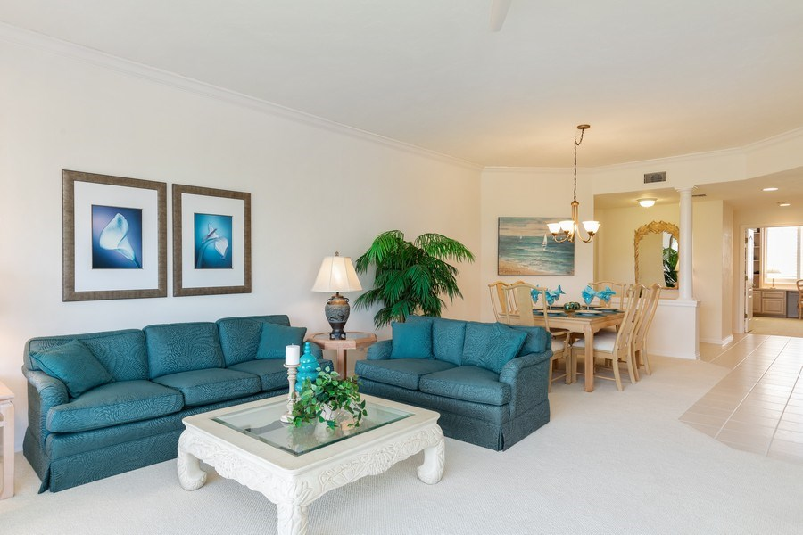 Real Estate Photography - 7008 Pelican Bay Blvd, Unit H305, Naples, FL, 34108 - Living Room