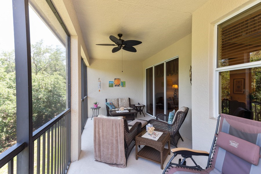 Real Estate Photography - 18941 Bay Woods Lake Dr. #201, Fort Myers, FL, 33908 - Lanai